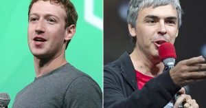 Facebook CEO Mark Zuckerberg, left, and Google CEO Larry Page